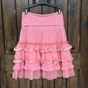 Ariella Pink Ruffle Skirt Fits S M L